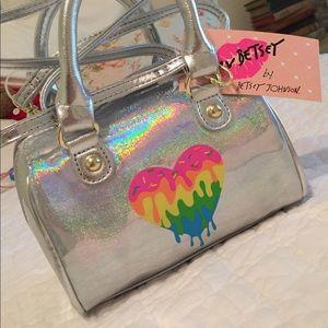 FINAL$ Betsey Johnson holo rainbow heart mini bag